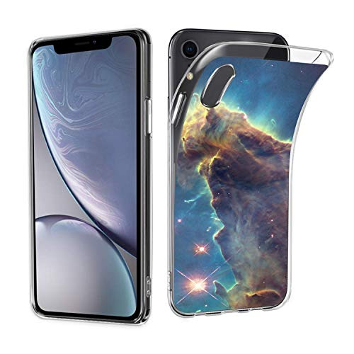 Owa UV Printing Case for iPhone Xr, Shock-Absorption Bumper Cover, Anti-Scratch Clear Back, HD Clear - Outer Space