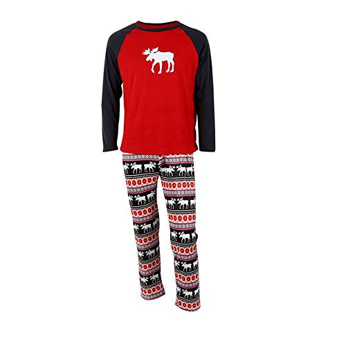Christmas Family Matching Kids Mom Dad Two Piece Striped Moose Pajamas Sets (Small, Dad Moose) (Striped Moose)