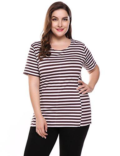 Women Casual Plus Size Short Sleeve O Neck Striped Loose Pullover T-Shirt Tops