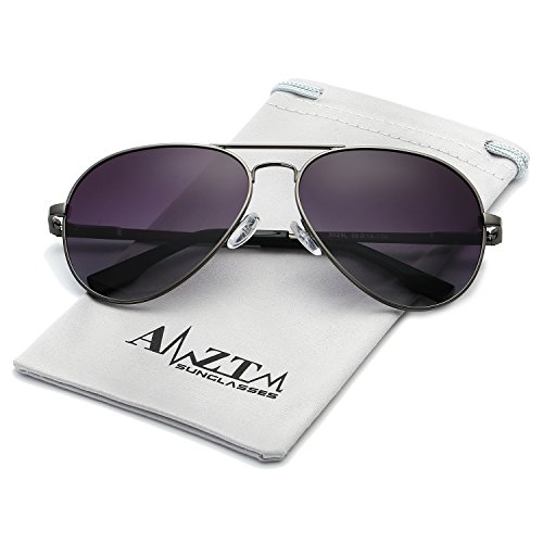 AMZTM Classic Fashion Double Bridge Metal Frame Polarized Lens Aviator Men and Women Sunglasses (Grey Frame Gradient Grey Lens, - Sunglasses Progressive Lenses