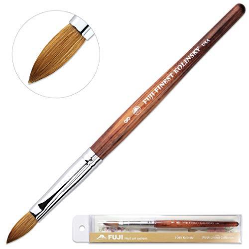 Fuji Brand Size # 8 Oval Crimped Shaped Mahogany Wood Handle Acrylic Nail Brush Professional Salon Quality 100% Pure Kolinsky Hair Bristles