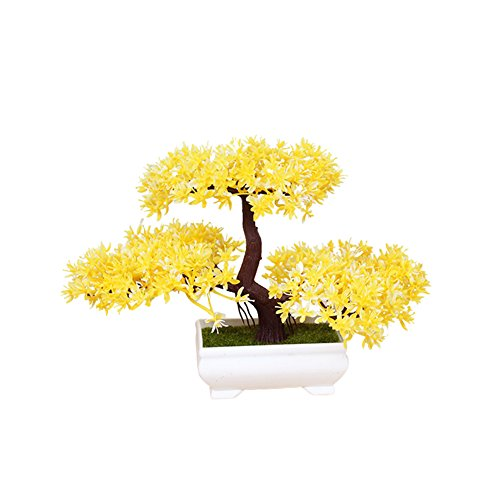 Frjjthchy Mini Artificial Bonsai Tree Plants with Plastic Cement Pots for Home Office Décor (Yellow)