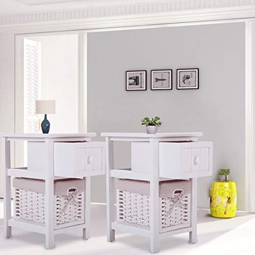 JAXPETY White Nightstand 1 Drawer Bedside End Table Organizer w/Wicker Storage (2 Drawer Wicker Nightstand)