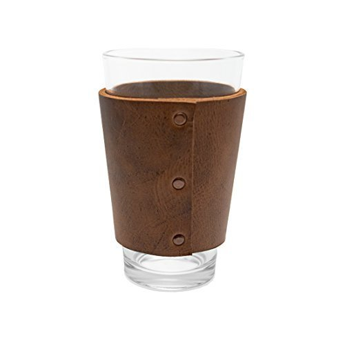 Rustic Leather Pint Sleeve Handmade by Hide & Drink :: Bourbon Brown - Hide Top Bar