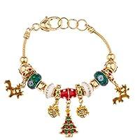 Accesorios de lujo Reno Corazón Bloqueo Charm Pulsera Navidad árbol de Navidad