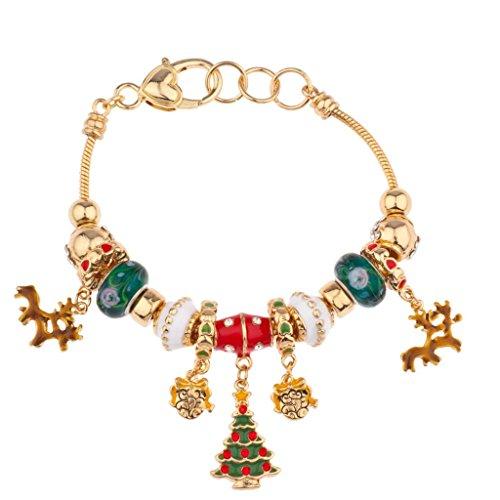 (Lux Accessories Reindeer Heart Lock Charm Bracelet Xmas Christmas Tree)