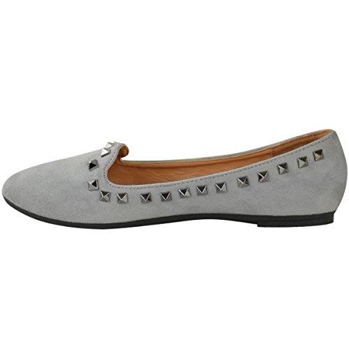 Zapatos Nuevo Mujer Thirsty equita a met Zapatillas Gris Rock Bajos tachuelas Deslizables Mu Ballet Fashion con Ni Artificial Ante Talla ZI4xqwWd55