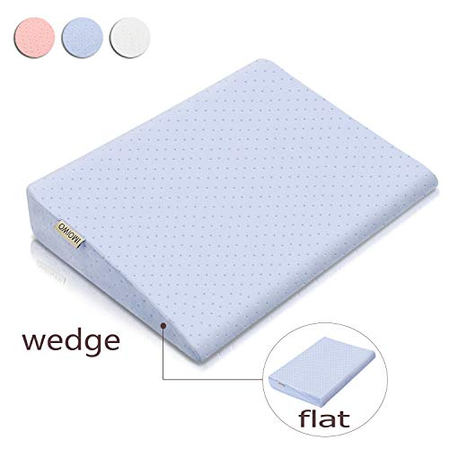 OMIOWI Crib Wedge for Reflux Baby, Wedge & Flat Pillow 2 in 1, for Infant, Newborn, Waterproof & Movable Cover, Memory Foam (Blue) (Crib Baby Wedge)