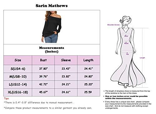 Sarin Mathews Womens Tops Long Sleeve Off The Shoulder Blouses Casual Shirt Juniors Top Blouses Blue S