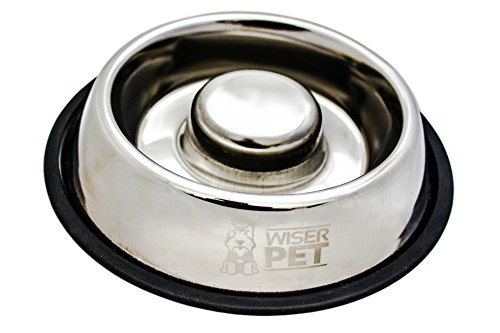 Wiser Pet Slow Feed Dog Bowl | Anti Gulping Slow Feeder for Dogs and Puppies | Durable and Easy Clean Stainless Steel | Slows Eating Helps Digestion and Reduces Risk of Choking and Bloat