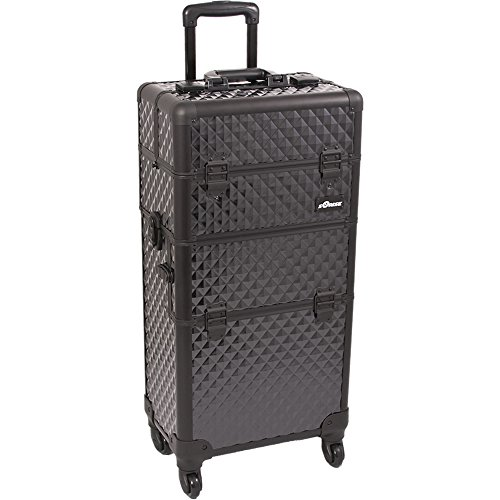 SUNRISE Makeup Case on Wheels I3261 2 in 1 Hair Stylist Organizer, 4 Wheel Spinner, 3 Trays and 1 Removable Tray, Locking with Mirror and Shoulder Strap, Black Diamond by SunRise