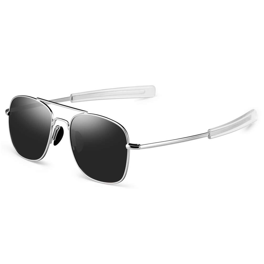 76fd8333e1 PROSHADE Mens Aviator Sunglasses Military Style Pilot Glasses with Bayonet  Temples (Silver   Gray