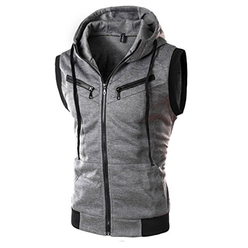 Sun Lorence Men Casual Sporty Sleeveless Hoodies Stylish Hip Hop Zipper Sweatshirts Darkgrey - Website Fashion Fair