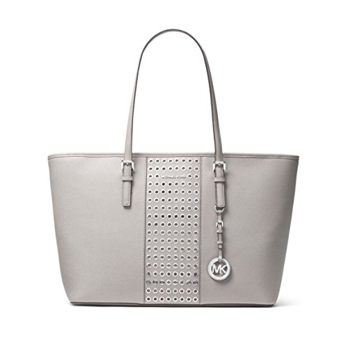 820e495691d66 ... cheapest amazon michael michael kors jet set travel grommet saffiano  leather tote in pearl grey shoes