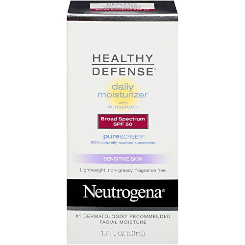 Neutrogena Healthy Defense Daily Moisturizer for Sensitive Skin with SPF 50, Mineral Sunscreen with Zinc Dioxide & Titanium Dioxide, Oil-Free & Fragrance-Free, 1.7 fl. oz