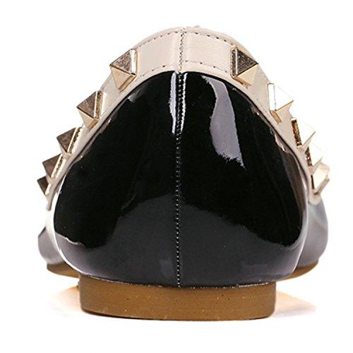 Azbro Mujer Zapatos Planos Remache Slip-on con Puntera Punta Amarillo