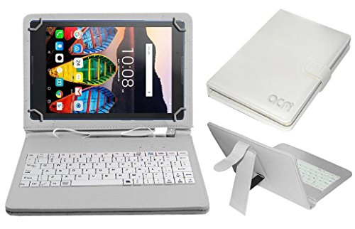Acm USB Keyboard Case Compatible with Lenovo Tb3 710l Tablet Cover StandStudy Gaming Direct Plug  amp; Play   White