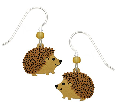 Animal Brown Earrings - Sienna Sky Hedgehog Hand Painted Earrings with Gift Box Made in USA