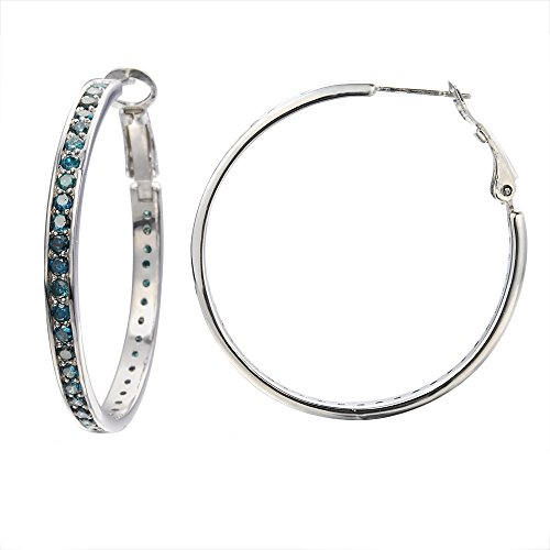 3 CT Blue Diamond Hoop Earrings In Sterling Silver