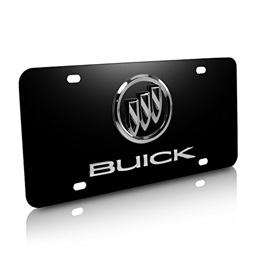 - Buick Logo and Name on Black Steel License Plate