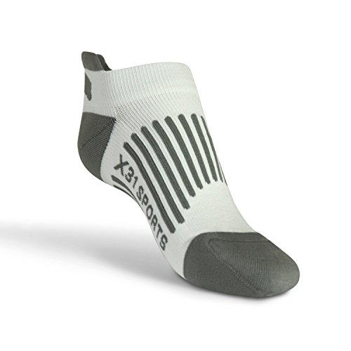 X31 Sports Low Cut Running Socks with Tabs Cushion Arch Support (White, Medium) 1 Pair