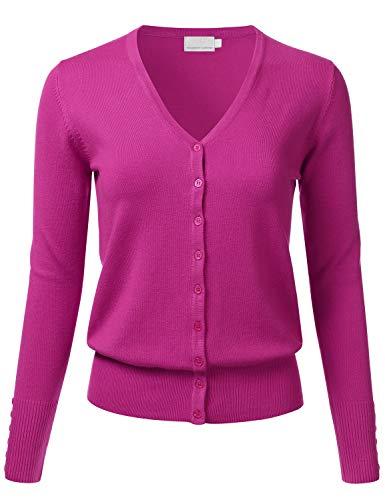 Nylon Cardigan Cotton - FLORIA Women's Button Down V-Neck Long Sleeve Soft Knit Cardigan Sweater Magenta S