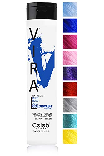 Celeb Luxury Viral Colorwash: Blue Color Depositing Shampoo Concentrate, 10 Vivid and Pastel Colors, Stops Fade, 1 Quick Wash, Cleanse + Color, Sulfate-Free, Cruelty-Free, 100% Vegan ()
