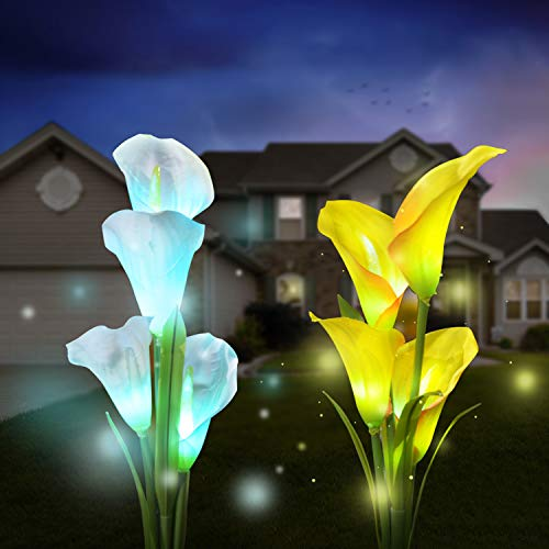 Solar Garden Lights Outdoor, 2 Pack Solar Powered Lights with 8 Lily Flower, Multi-Color Changing LED Solar Stake Lights for Garden, Patio, Backyard (White/Yellow)