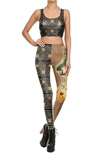 Selowin Women 2017 Funny Witch Geometric Pattern Yoga Sport Fitness Two Piece Outfits M ()