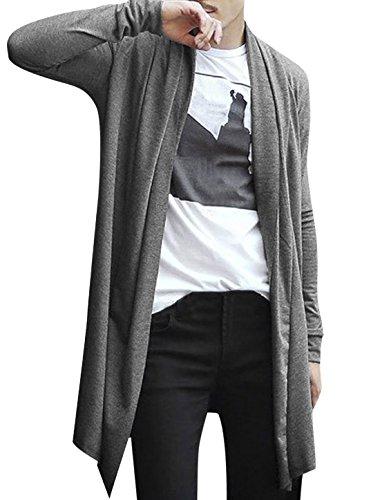uxcell Men Open Front Long Sleeve High-Low Hem Long Cardigans Gray L