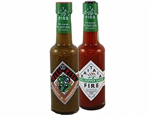 Unique Hot Sauce Pack: Habanero, Kiwi Fruit and Manuka Honey Waha Wera Sauce and The Original Kaitaia Fire Chili Pepper Sauce, Both Made With Organic Chilis and Natural Ingredients by Kaitaia Fire