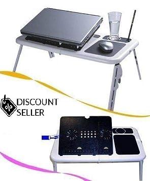 Bandeja de mesa plegable portátil para ordenador portátil, escritorio, cama, sofá, con ventilador refrigerador: Amazon.es: Hogar