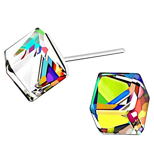 Color Change Crystal Square S925 Sterling Silver Stud Earrings Women Girl Gifts