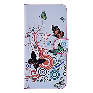 Butterflies and Circles Pattern Full Body Case with Card Slot and Built-in Matte PC Back Cover for iPhone 5/5S