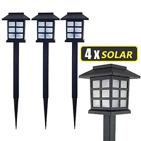 Lampade Solari Da Giardino Amazon.Lampada Solare Da Giardino A Led 38 X 9 X 9 Cm In Plastica Nero