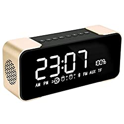 BOXAN Bluetooth Speakers, Hi-Fi Portable Wireless Stereo Speaker with Alarm Clock, Build-in Mic,FM Radio, LED Light,Hands-free, Two Subwoofer Enhanced Bass Surround Sound for Indoor and Outdoor - Gold