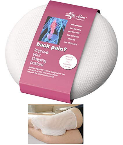 Patented Side Sleeping Knee Pillow Rophi Cushion - May Help Reduce Low Back Pain and Improves Sleeping Patterns - Leg Stocking Helps Cushion Stay in Place (Best Pregnancy Pillow Uk)