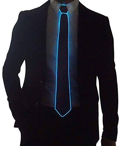 (Light Up Neck Tie Led Tie for men Novelty Necktie for Rave Party Burning Man Festivals (1, Black Micro Soild Tie-Blue)