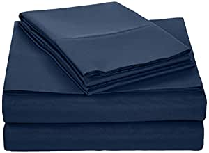 AmazonBasics Microfiber Sheet Set - Queen, Navy Blue