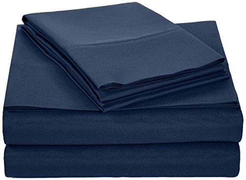 AmazonBasics Microfiber Bed Sheet Set - Queen, Navy Blue