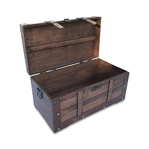 Farmhouse Toy Box (The Americana Steamer Trunks, Treasure Chests, Storage Boxes, Faux Leather Straps, Hinged Top, Metal Side Handles, Studs and Flip Latch, 26 D x 14 5/8 W x 15 3/8 H