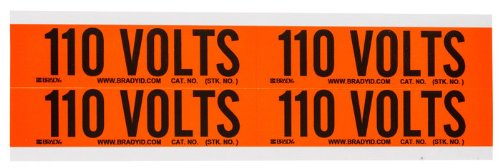 Brady B-498 Black on Orange Rectangle Vinyl Cloth Conduit / Voltage Marker - 4 1/8 in Width - 1 1/8 in Height - Printed Text = 110 VOLTS - 44201 [PRICE is per (Conduit Marker Cards)