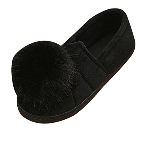 Kvinnor Platt Toffel, Inkach Snygga Tjejer Flip Flops Faux Fuzzy Bollen Platt Sandal Halkskydd Skor Svarta