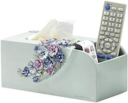 GHMOZ Haushalt Tissue Box Multi-Funktions-Fernbedienung, Handy Storage Box Einfache Resin Bookbox Beige Blau Tissue Box Cover Gesicht (Color : Blue)
