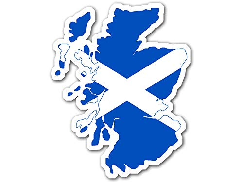 American Vinyl Scotland Shaped Scottish Flag Sticker (Decal scot Shape st Andrew's Cross)