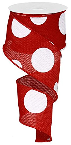 Giant Multi Dots Faux Burlap Wired Edge Ribbon - 2.5 Inch x 10 yards (Red, White) : RG0120024 -