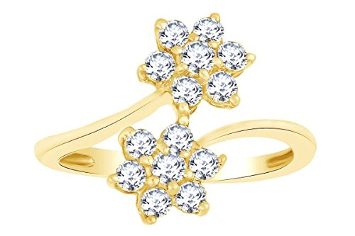 Round Shape White Natural Diamond Double Flower Engagement Ring In 14k Solid Yellow Gold (0.63 cttw) Ring Size-9