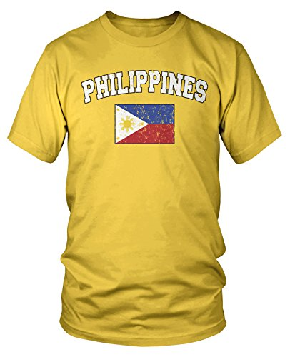 (Amdesco Men's Philippines Flag, Filipinas Philippine Flag T-Shirt, Yellow Medium)