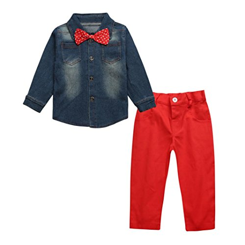 ZLOLIA Baby Clothes Autumn Winter 1Set Kid Toddler Boys Denim T-shirt Trousers Pants Outfits (4T, Blue) by ZLOLIA (Image #2)
