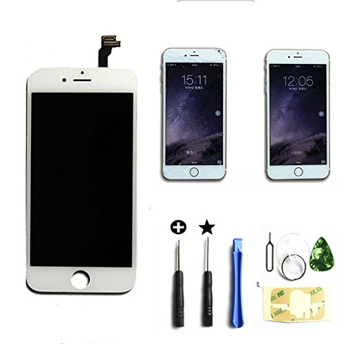 White iphone 6 plus 5.5 inch Retina LCD Touch Screen Digitizer Glass Replacement Full Assembly with repair kit by ZTR